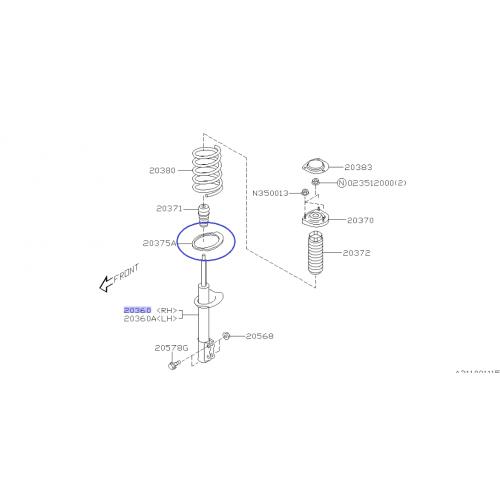 Górne mocowanie amortyzatora do Subaru Impreza/Forester/Legacy tył lewy